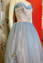 Load image into Gallery viewer, Vintage 1950s Dress • Light Blue & Blush Pink Strapless Tulle Cupcake Gown • Extra Small