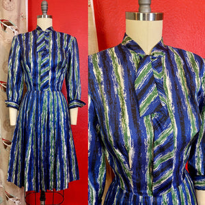 Vintage 1950s Dress • Blue & Green Brushstroke Print Dress • Extra Small