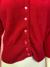 Load image into Gallery viewer, Vintage 1930s Cardigan • Cherry Red Batwing Sleeve Knit Sweater • Small to Large