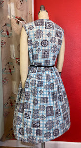Vintage 1950s Dress • Blue Checked & Purple Print Cotton House Dress with Pockets • Extra Large