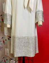 Load image into Gallery viewer, Vintage 1960s Dress • Stunning White Shift Dress with Silver Beads • Medium / Large