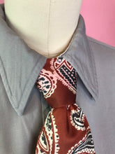 "Load image into Gallery viewer, Vintage 1940s Tie • Art Deco Paisley Necktie in Brown, Black, and White • 48"" Long"