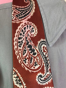 "Vintage 1940s Tie • Art Deco Paisley Necktie in Brown, Black, and White • 48"" Long"