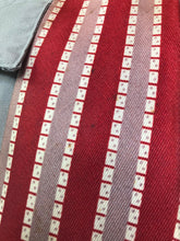 "Load image into Gallery viewer, Vintage 1940s Tie • Art Deco Vertically Striped Silk Necktie in Red, Bronze, and White • 54"" Long"