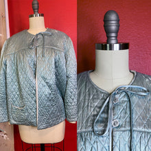 Load image into Gallery viewer, Vintage 1930s Loungewear • Ivy Blue Satin Quilted Bed Jacket • Small to Large