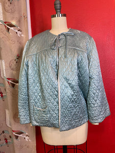 Vintage 1930s Loungewear • Ivy Blue Satin Quilted Bed Jacket • Small to Large