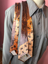 "Load image into Gallery viewer, Vintage 1940s Tie • Art Deco Silk Necktie with Curve and Circles Design in Grey, Copper, Black and White Colors • 50"" Long"