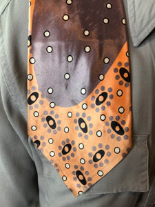 "Vintage 1940s Tie • Art Deco Silk Necktie with Curve and Circles Design in Grey, Copper, Black and White Colors • 50"" Long"