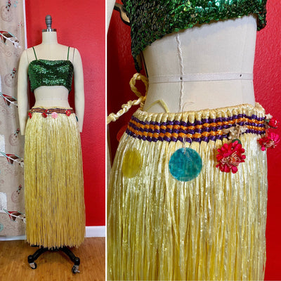 Vintage Hula Dancer Skirt • Vintage Yellow Raffia Dance Skirt with Shells & Flowers