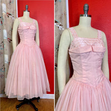 Load image into Gallery viewer, Vintage 1950s Dress • Pink Sweetheart Chiffon Dress • Extra Small