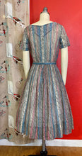Load image into Gallery viewer, Vintage 1960s Dress • Gray, Pink & Blue Chevron Print Sun Dress • Small