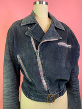 Load image into Gallery viewer, Vintage 1960s Jacket • Blue Corduroy Distressed Zipper Moto Jacket • Mens Small // Ladies Large
