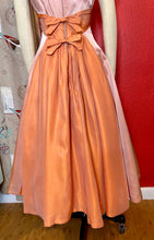 Load image into Gallery viewer, Vintage 1950s Dress • Peach Metallic Taffeta Party Dress • Small