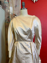 Load image into Gallery viewer, Vintage 1950s Dress • Champagne Satin Floor Length Gown • Small