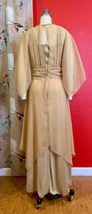 Vintage 1970s Dress • Emma Domb Gold 1970s Does 1910s Edwardian Inspired Gown • Medium