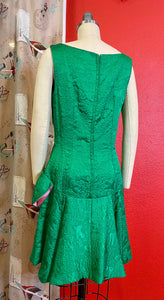 Vintage 1960s Dress • Green 1920s Inspired Drop Waist Bow Dress • Small