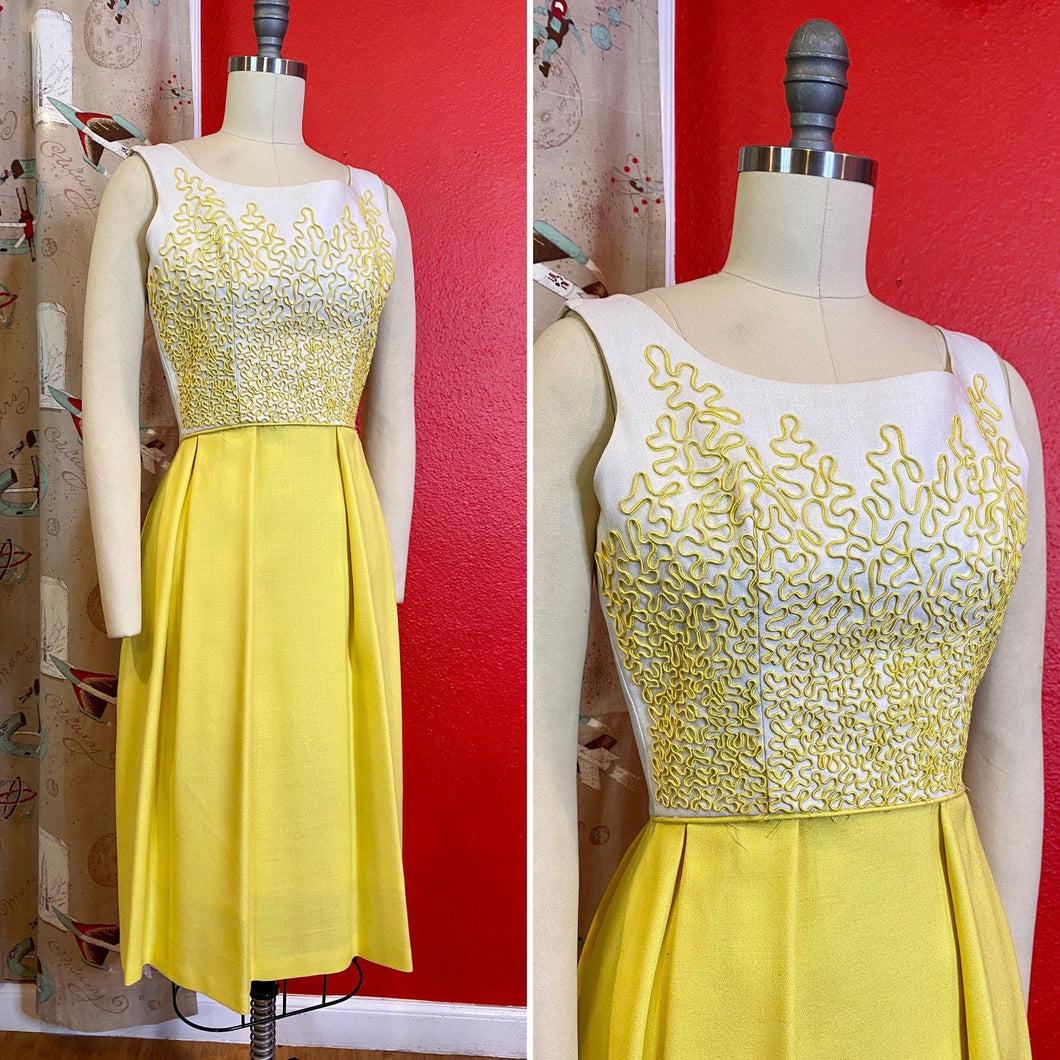 Vintage 1950s Dress • Yellow Soutache Linen Day Dress • Extra Small