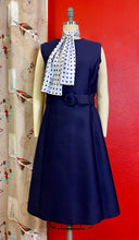 Load image into Gallery viewer, Vintage 1960s Set • Navy Blue Polka Dot Dress & Jacket Matching Set • Large to Extra Large