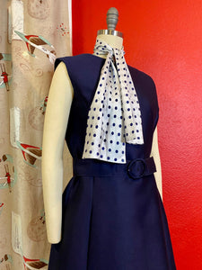 Vintage 1960s Set • Navy Blue Polka Dot Dress & Jacket Matching Set • Large to Extra Large