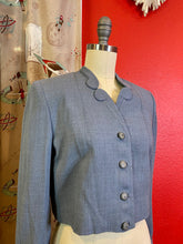 Load image into Gallery viewer, Vintage 1950s Jacket • Slate Blue Wool Cropped Blazer with Rhinestone Buttons • Small to Medium