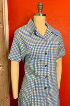 Load image into Gallery viewer, Vintage 1960s Dress • Deadstock Blue Gingham Day Dress • Extra Large