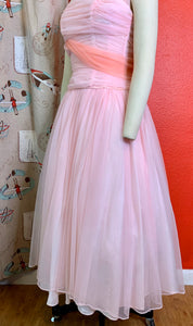 Vintage 1950s Dress • Emma Domb Designer Chiffon Sculpted Asymmetrical Strap Gown • Small