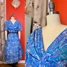 Load image into Gallery viewer, Vintage 1960s Dress • Blue Paisley Summer Weight Day Dress • 2XL 3XL
