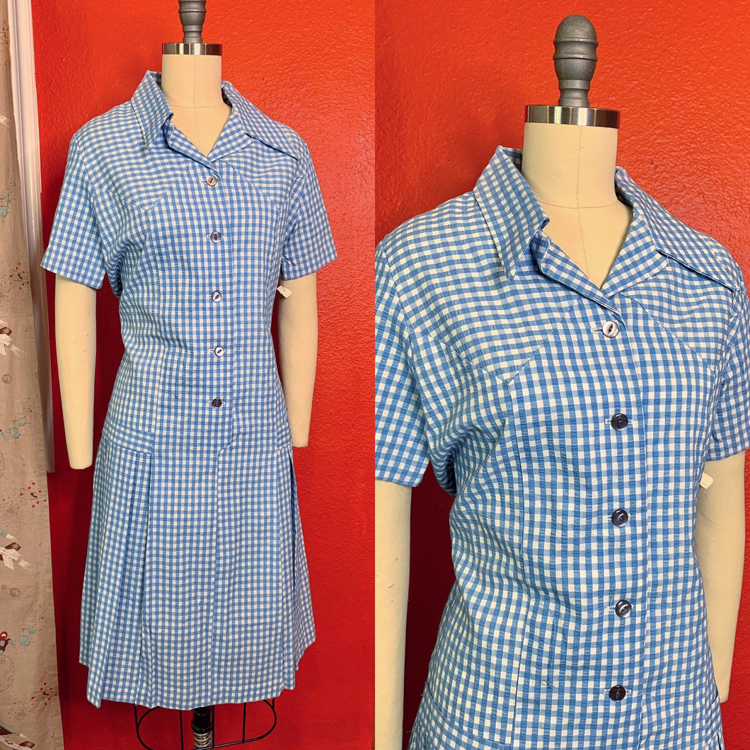 Vintage 1960s Dress • Deadstock Blue Gingham Day Dress • Extra Large