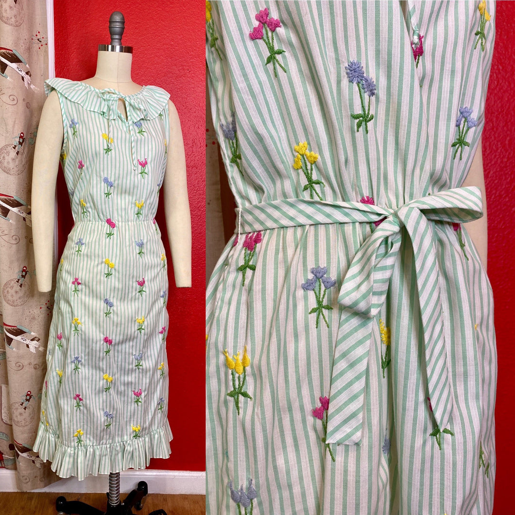 Vintage 1970s Dress • Green Cotton Candy Striped & Flower Embroidery Dress • Medium / Large