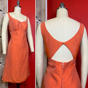 Vintage 1960s Dress • Metallic Peach Cut Out Dress • Medium