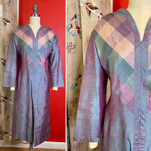 Load image into Gallery viewer, Vintage 1960s Dress • Purple Metallic Taffeta Plaid Dress • Large