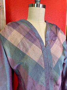 Vintage 1960s Dress • Purple Metallic Taffeta Plaid Dress • Large