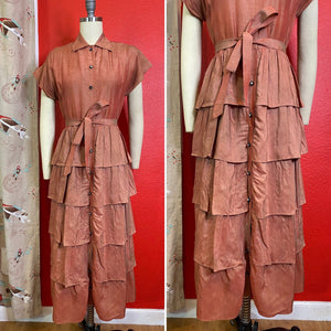 Vintage 1940s Dress • Dusty Rose Metallic Pink Ruffled Dress by Lil' Alice • Extra Small