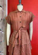 Load image into Gallery viewer, Vintage 1940s Dress • Dusty Rose Metallic Pink Ruffled Dress by Lil' Alice • Extra Small