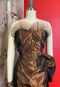 Vintage 1950s Set • Metallic Brown Strapless Wiggle Dress with Matching Jacket • Small