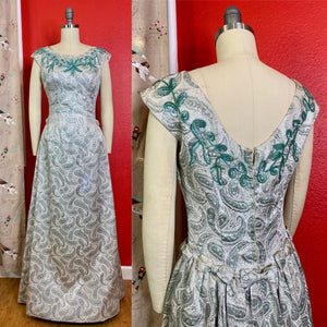 Vintage 1960s Dress • Green & Silver Brocade Gown with Turquoise Sequins and Bows • Small