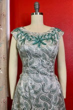 Load image into Gallery viewer, Vintage 1960s Dress • Green & Silver Brocade Gown with Turquoise Sequins and Bows • Small