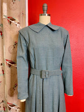 Load image into Gallery viewer, Vintage 1940s Dress • Slate Blue Plaid Gabardine Dress & Belt • Medium / Large