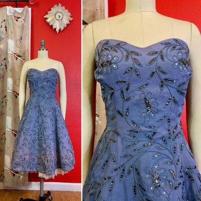 Vintage 1950s Dress • Periwinkle Blue Strapless Sparkling Sweetheart Party Dress • Medium