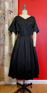 Vintage 1950s 1960s Dress • Black Satin New Look Dress • Extra Large // 2XL