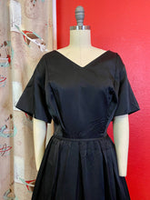 Load image into Gallery viewer, Vintage 1950s 1960s Dress • Black Satin New Look Dress • Extra Large // 2XL