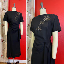 Load image into Gallery viewer, Vintage 1940s Dress • Silver Sequined on Black Crepe Dress with Hip Swag • Large