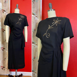 Vintage 1940s Dress • Silver Sequined on Black Crepe Dress with Hip Swag • Large