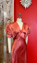 Load image into Gallery viewer, Vintage 1930s Dress • Pink Liquid Satin Bias Cut Princess Sleeve Gown • Medium