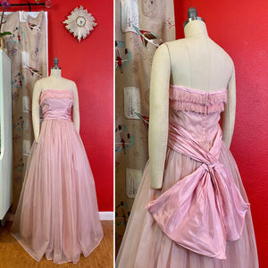 Vintage 1950s Dress • Strapless Pink Chiffon Big Bow Ball Gown • Small