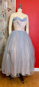 Vintage 1950s Dress • Light Blue & Blush Pink Strapless Tulle Cupcake Gown • Extra Small