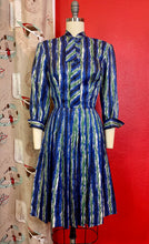 Load image into Gallery viewer, Vintage 1950s Dress • Blue & Green Brushstroke Print Dress • Extra Small