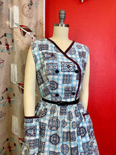 Load image into Gallery viewer, Vintage 1950s Dress • Blue Checked & Purple Print Cotton House Dress with Pockets • Extra Large