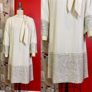 Vintage 1960s Dress • Stunning White Shift Dress with Silver Beads • Medium / Large