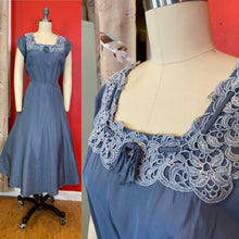 Load image into Gallery viewer, Vintage 1950s Dress • Slate Blue Taffeta Dress with Rhinestone Collar • Extra Large